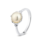 Argento Dotted Border Pearl Ring