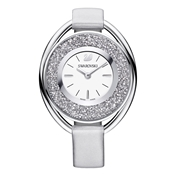 Swarovski Crystalline Oval Grey Leather Watch