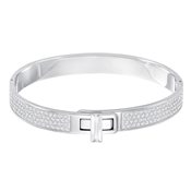Swarovski Gave Silver Buckle Bangle (Medium)