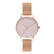 Olivia Burton Blush Midi Dial & Rose Gold Mesh Watch
