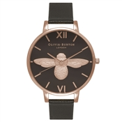 Olivia Burton Moulded Bee Black & Rose Gold Watch