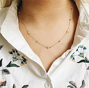 Olivia Burton Silver & Gold Bee Beaded Necklace