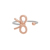 Olivia Burton Silver & Rose Gold Bow Ring