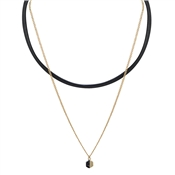 Dirty Ruby Black Marble Choker Necklace