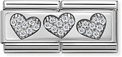 Silver Hearts Double Plate Charm by Nomination