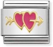 Nomination Fuchsia Double Hearts Charm
