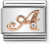 Rose Gold Letter A Charm by Nomination