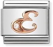 Nomination Rose Gold Letter E Charm