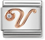 Nomination Rose Gold Letter V Charm