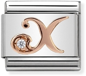 Nomination Rose Gold Letter X Charm