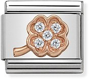 Nomination Rose Gold Pave Clover Charm