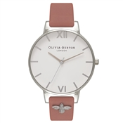 Olivia Burton 3D Bee Embellished Strap Rose Watch