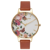 Olivia Burton English Garden Tan & Gold Watch