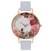 Olivia Burton English Garden Chalk Blue & Rose Gold Watch