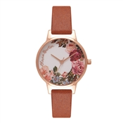 Olivia Burton English Garden Tan & Rose Gold Watch