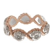 Olivia Burton Floral Charm Rope Silver & Rose Gold Ring