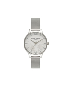 Olivia Burton Lace Detail Silver Mesh Watch