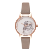 Olivia Burton Owl Motif Iced Coffee & Rose Gold Watch