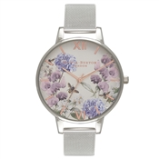 Olivia Burton Parlour Bee Blooms Silver Mesh Watch