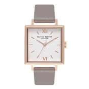 Olivia Burton Big Square Dial London Grey & Rose Gold Watch
