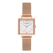 Olivia Burton Midi Square Dial Rose Gold Mesh Watch
