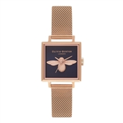 Olivia Burton Square Dial 3D Bee Midnight & Rose Gold Watch