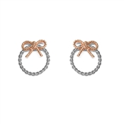 Olivia Burton Silver & Rose Gold Bow Hoop Earrings
