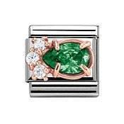 Couture Rose Gold & Green Crystal Charm by Nomination