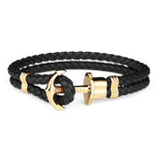 Paul Hewitt Black & Gold Phrep Leather Bracelet
