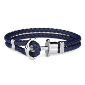 Paul Hewitt Navy Blue & Silver Phrep Leather Bracelet