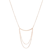 Dirty Ruby Rose Gold Bar with Chains Necklace
