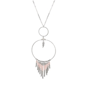 Dirty Ruby Silver Beaded Feather Necklace