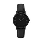 CLUSE Minuit Black Leather Watch