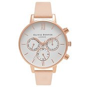 Olivia Burton Nude Peach & Rose Gold Chrono Detail Watch