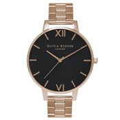 Olivia Burton Big Dial Rose Gold & Black Watch