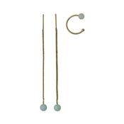 Pilgrim Gold & Green Earring Set