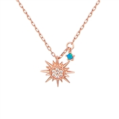 Argento Rose Gold Blue Opal Sun Necklace