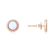 Argento Rose Gold Crystal Border Opal Stud Earrings