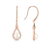 Argento Rose Gold Teardrop Pearl Earrings