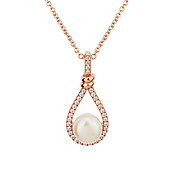 Argento Rose Gold Teardrop Pearl Necklace