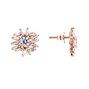 Argento Rose Gold Stellar Flower Stud Earrings