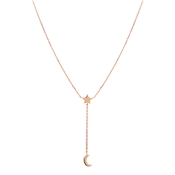 Argento Rose Gold Star & Moon Lariat Necklace