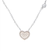 Argento Silver Sparkling Heart Necklace