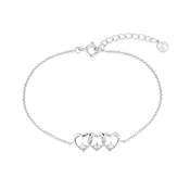Argento Silver Row of Hearts Bracelet