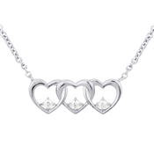 Argento Silver Row of Hearts Necklace