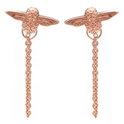 Olivia Burton 3D Bee Rose Gold Chain Earrings