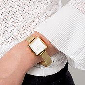 Olivia Burton Big Square Dial Gold Mesh Watch