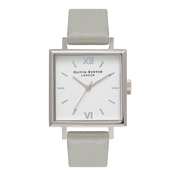 Olivia Burton Big Square Dial Grey & Silver Watch