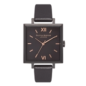 Olivia Burton Big Square IP Black & Rose Gold Watch