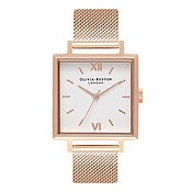 Olivia Burton Big Square Dial Rose Gold Mesh Watch